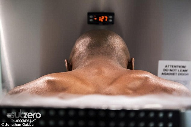 The world champion boxer immerses himself in a cooled -200C chamber for between 1-3minutes
