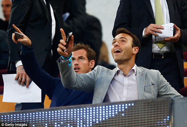 Andy Murray (left) attended Barcelona's Champions League quarter-final second leg clash against PSG