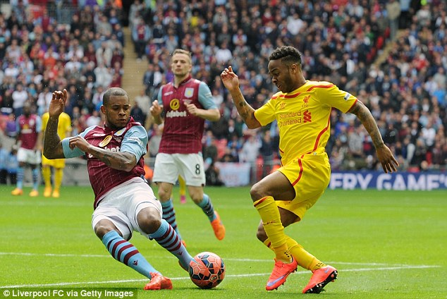 Liverpool winger Raheem Sterling (right) takes on Aston Villa's Leandro Bacuna in the FA Cup semi-final