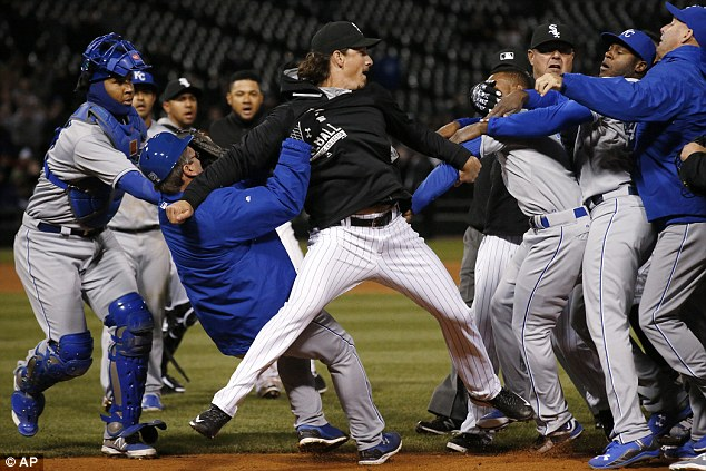 Chicago White Sox's Jeff Samardzija, center, in the brawl with Kansas City Royals players during the seventh inning of Thursday's game