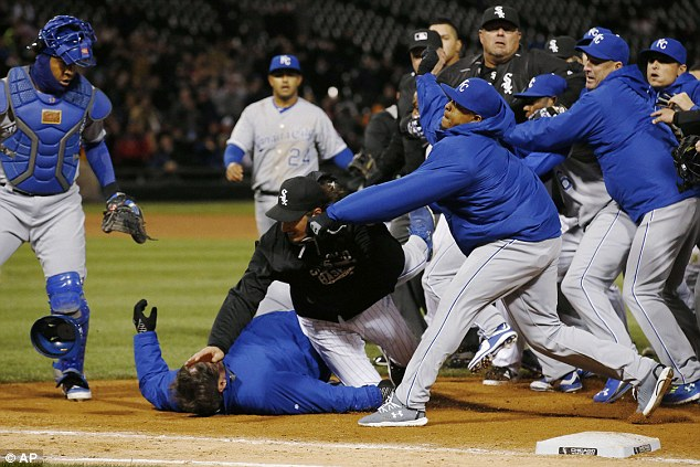 Several punches were thrown and Kansas City's Ventura, Lorenzo Cain and Edinson Volquez were ejected along with Chicago's Chris Sale and Jeff Samardzija (pictured going down)
