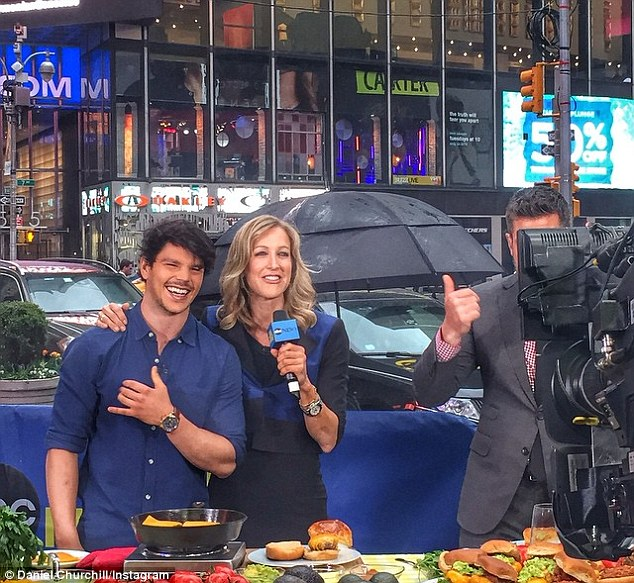 New kid on the block: Sydney's  Dan Churchill takes on New York with live cooking segment at Times Square