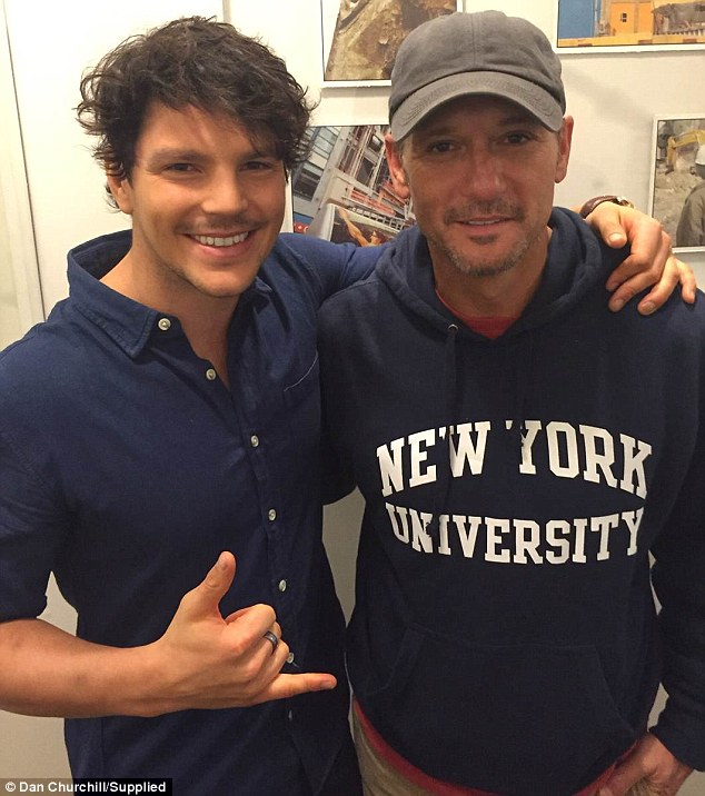 Mateship with McGraw: Churchill took a moment to get a sneaky snap with country star Tim McGraw
