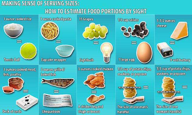 Graphic reveals the food portion sizes you should be eating