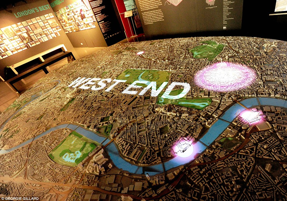 Other interactive features include mapping people movements, clusters of buildings and films that tell the story of London's development. Looking forward, these animations will be used to show how major developments and transport infrastructures are expected to look and how they fit in with their surroundings. The West End is pictured
