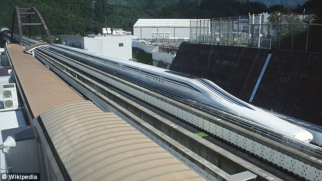 By 2045 maglev trains (example pictured) are expected to link Tokyo and Osaka in just one hour and seven minutes, slashing the journey time in half. The Maglev trains are set to eventually consist of 16 carriages and carry up to 1,000 passengers at a time