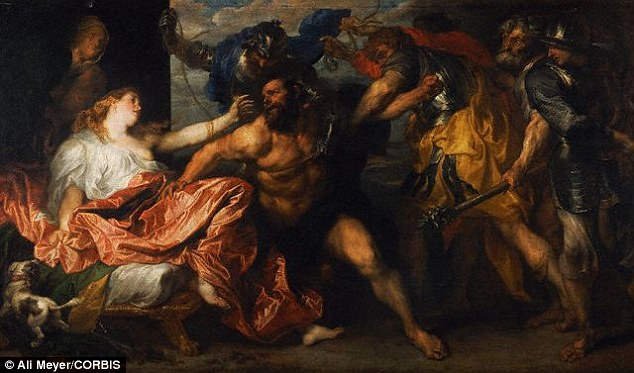 This is a more traditional image of the story of Samson, painted in 1630 by Anthonie van Dyck. The tale goes that Samson is givensupernatural strength by God and does great acts, but he loses it when his hair is cut off and dies a violent death