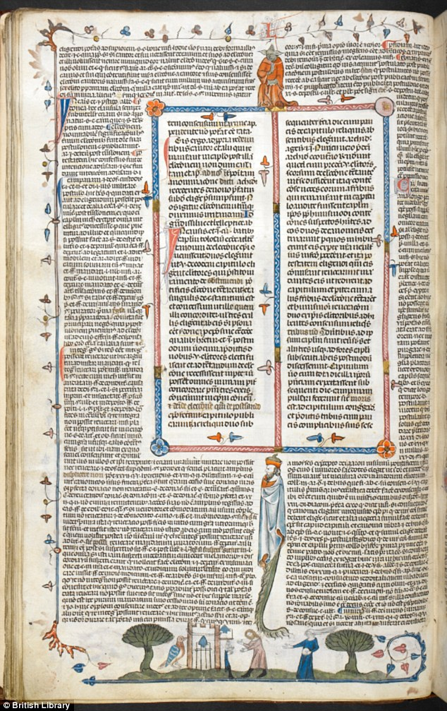 The biblical character, or 'Yoda' made his appearance in a collection of papal letters and church decrees in the precious volume, a page of which is shown above. The character is simply a whimsical addition to the page, which also has other bizarre human-animal hybrids
