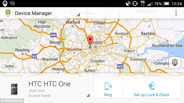 Google's latest tool can't lock the missing phone, or erase its data. Users will need to install the Android Device Manager (ADM) app (pictured) if they want these features.Both tools override the selected sound profile, too, meaning that even if a phone is on silent it will still ring at full volume for five minutes