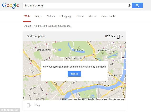 To locate a lost phone, sign into a Google account on Chrome and type 'find my phone' into the search engine. A map (pictured) appears as the first result with a message asking the user to sign in again to confirm their identity. The phone's location is shown and clicking 'Ring' will remotely call the handset