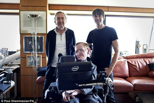 Pictured here are Eric Idle (left), Stephen Hawking (centre) and Brian Cox. Professor Stephen Hawking can be heard singing the show's famous Galaxy Song, released digitally this week, and available on vinyl this weekend as part of Record Store Day 2015