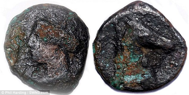 On one side of the coin there the image of the Goddess Tanit, the chief deity of Carthage, (pictured left) while on the reverse is a horse's head, pictured right
