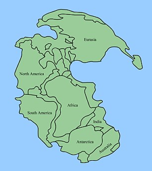 During the Great Dying, a supercontinent called Pangaea covered the Earth. This landmass (illustrated) created hot and dry conditions