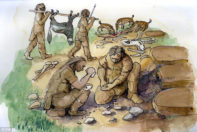 Neanderthals (represented in the drawing above) may have been the world's first gourmets - using herbs like yarrow and camomile to flavour the meat that dominated their diet, according to a new scientific paper
