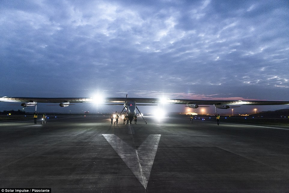 Solar Impulse 2 is seen here before lifting off from Chongqing.The team behind Solar Impulse 2, which has more than 17,000 solar cells built into its wings, hopes to promote green energy with its round the world attempt.