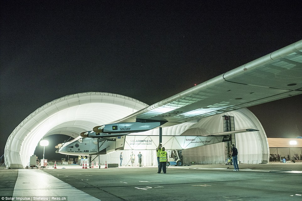 Solar Impulse 2 is seen here before it took off from Mandalay, Myanmar on 30 March 2015. The two pilots take turns flying Solar Impulse 2