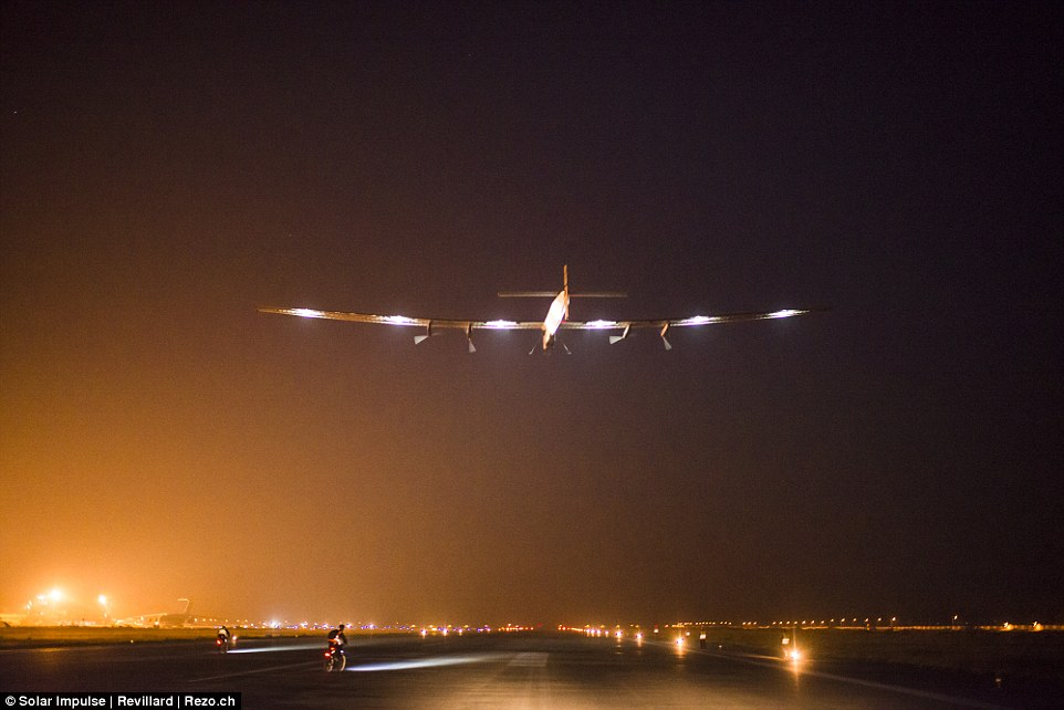 Whether the duo can make it around the world in five months with all these delays remains to be seen. The plane is seen here taking off from Varanasi in India to Mandalay in Myanmar on 18 March 2015 with Piccard at the controls