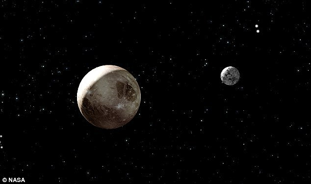 Scientists still know very little about Pluto (illustrated left), its largest satellite Charon (right) and its other moons.Pluto, the largest known body in the Kuiper Belt, is thought to have a nitrogen atmosphere and complex seasons. On its surface, it seems to have distinct surface markings, and it may have ice as well