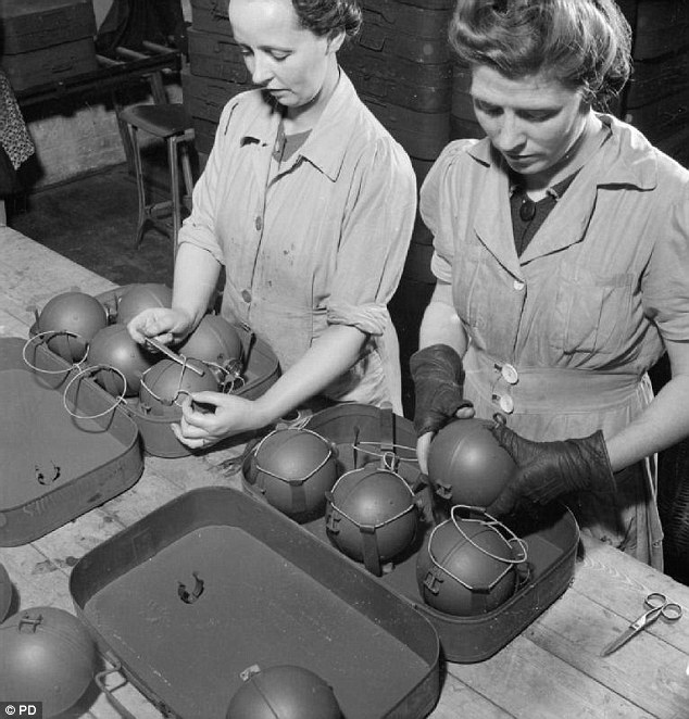 The Stick Bomb is shown being assembled in 1943. This was a kind of grenade consisting of a glass sphere filled with more than 1.5lbs (half a kilogram) of nitroglycerine, covered with an extremely sticky adhesive and encased in metal