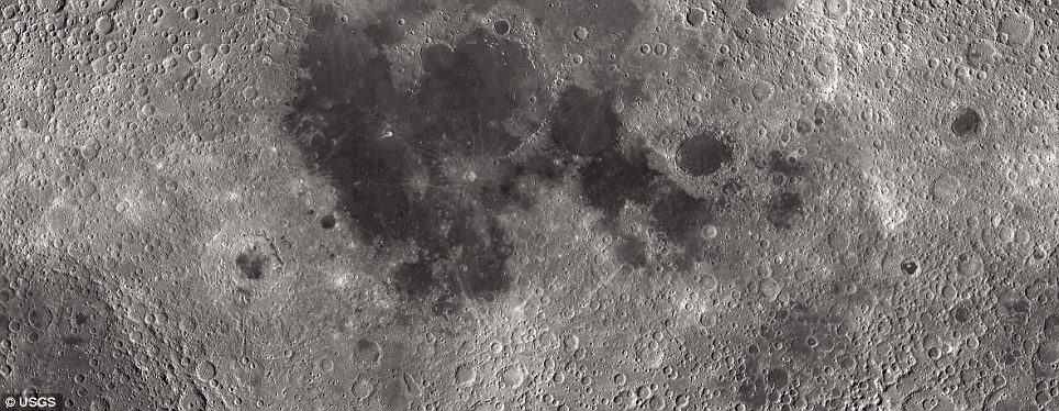 The two sets of maps include image mosaics (right) and topographical views (right) of the lunar landscape. Darker blue show deep craters, while the grey and white areas reveal areas of elevation