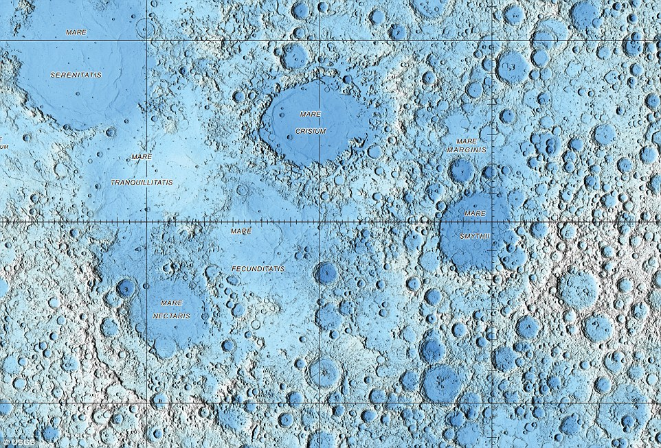 To create the maps, Mr Hare used more than 6.5 billion measurements collected between 2009 and 2013 by the Lunar Reconnaissance Orbiter Wide Angle Camera (Wac) and the Lunar Reconnaissance Orbiter (LRO)