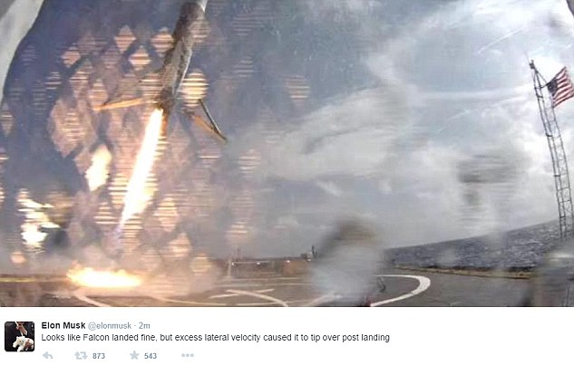 The booster managed to land on the barge but Elon Musk said that 'excess lateral velocity' caused it to tip over