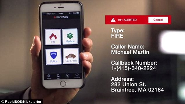 Developers in Boston have worked with global emergency response teams to create its One-Touch-911 app (pictured). Users can call the police, fire service, report a car crash or seek medical help at the press of a single button - and it works even if the user doesn't have signal