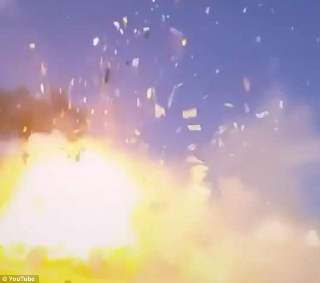 Pictured is the moment of impact. A deleted tweet by Musk says that the rocket appeared to be suffering from 'stiction in the biprop throttle valve, resulting in control system phase lag.'This means the valve controlling the flow propellent and oxidiser to the engine wasn't moving fast enough