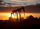 Silhouette of oil wells at sunset in Saskatchewan, Canada.  Image by Dan Bannister/Image Source/Corbis