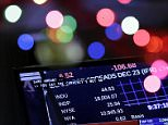 A television displays the Dow Jones Industrial Average above 18,000 on the floor of the New York Stock Exchange in New York, Tuesday, Dec. 23, 2014.  The Dow Jones industrial average broke through 18,000 points for the first time Tuesday as the stock market continued a late-year march to record highs. (AP Photo/Seth Wenig)