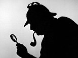 CMT3FP 1940s SILHOUETTE OF SHERLOCK HOLMES HOLDING MAGNIFYING GLASS AND SMOKING A PIPE