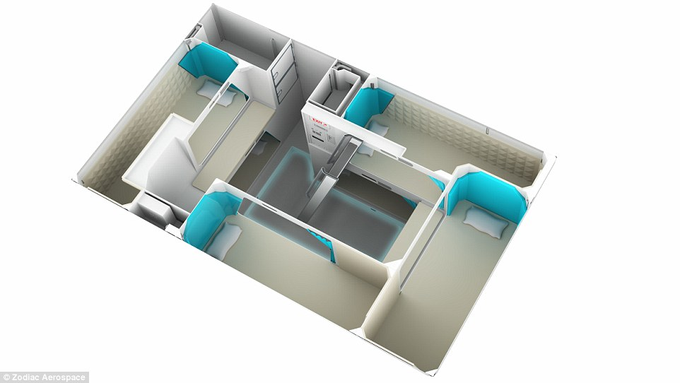Cabin envy! The deluxe areas were created after Zodiac Aerospace spoke to 30 flight attendants from four different continents