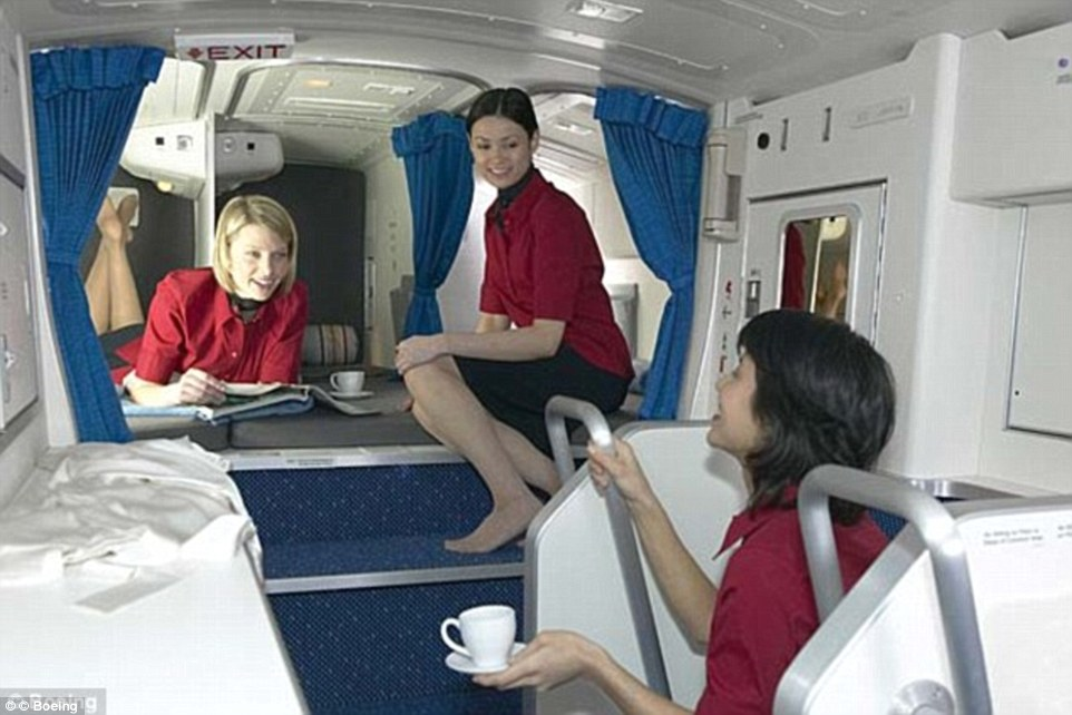Enough room to swing a cat? A file picture reveals the Crew Rest Department on board a Boeing 777