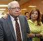 Robert Bates, left, leaves his arraignment with his daughter, Leslie McCreary, right, in Tulsa, Okla., Tuesday, April 21, 2015.  Bates, a 73-year-old Tulsa County reserve deputy who fatally shot a suspect who was pinned down by officers, pleaded not guilty to a second-degree manslaughter charge.  (AP Photo/Sue Ogrocki)