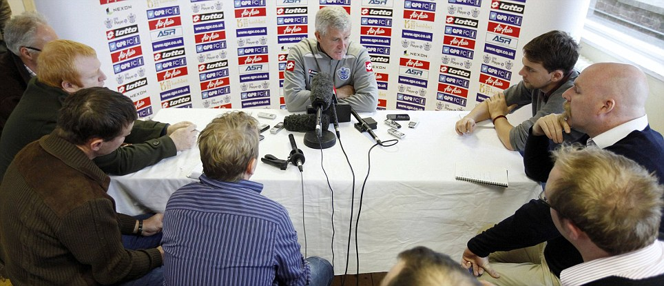 Centre of attention: The Queens Park Rangers boss speaks to members of the assembled media ahead of his side's crunch clash with Southampton