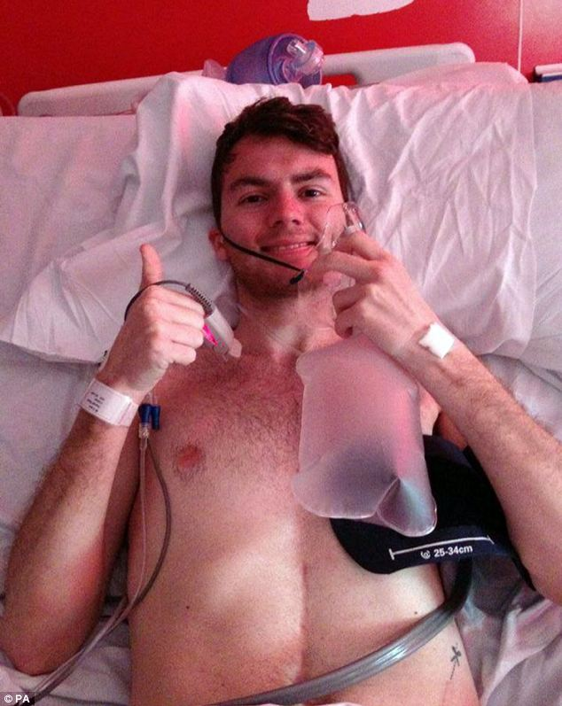 Illness: Stephen Sutton, 19, pictured in hospital a few weeks ago, was diagnosed with bowel cancer aged 15
