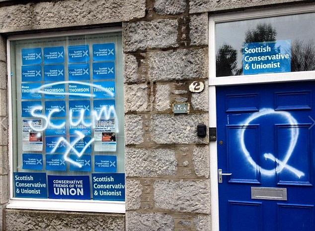 Attack: The windows of the Scottish Conservative & Unionist Party offices in Aberdeen have been spray-painted with the word 'scum', a swastika and giant letter Q, for Quisling