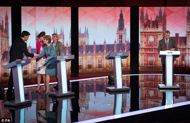 Isolated: Four of the five speakers  moved into a little huddle of smirking self-congratulation, while on the right, Nigel Farage stood alone