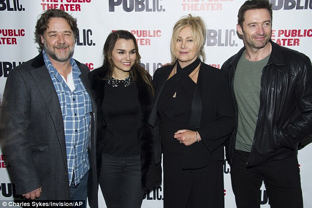 Out on the town: Later that night he joined Hugh Jackman and Deborra-Lee Furness, with the trio enjoying an evening watching Anne Hathaway's one-woman show Grounded