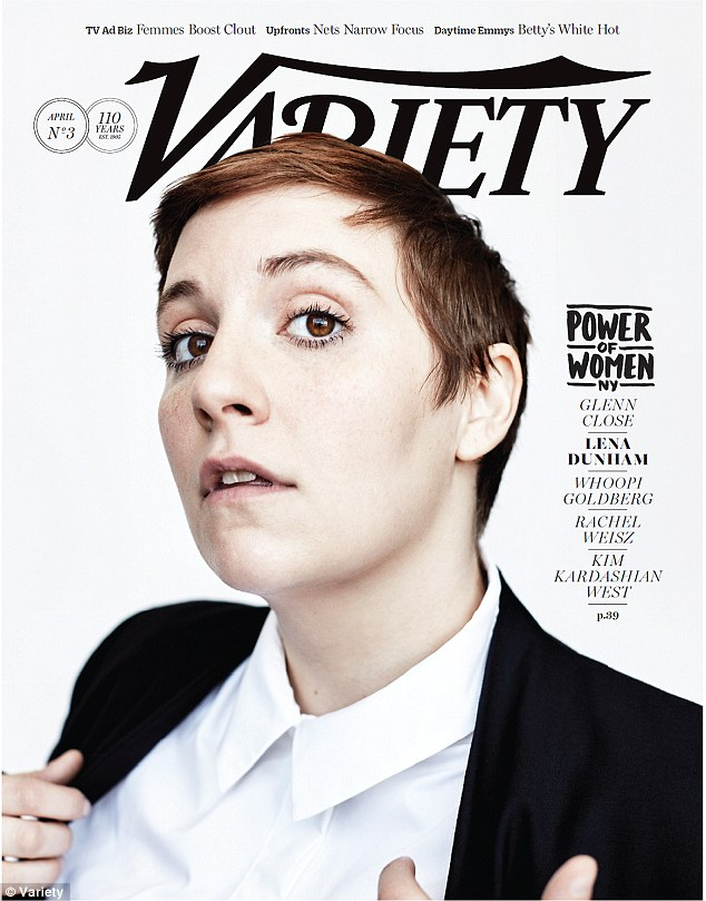 Speaking out: Lena Dunham loked striking on the cover of Variety's Power of Women issue, as she was honored for her work withnon-profit Girls Educational & Mentoring Services