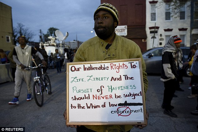 Hundreds took part in a demonstration in Baltimore overnight to make their voices heard