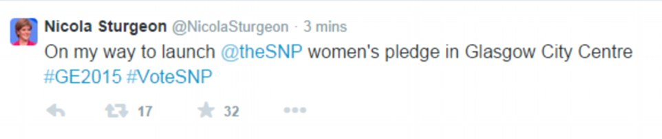 Shortly before today's service at the Cenotaph, SNP leader Nicola Sturgeon tweeted that she was on her way to a party event