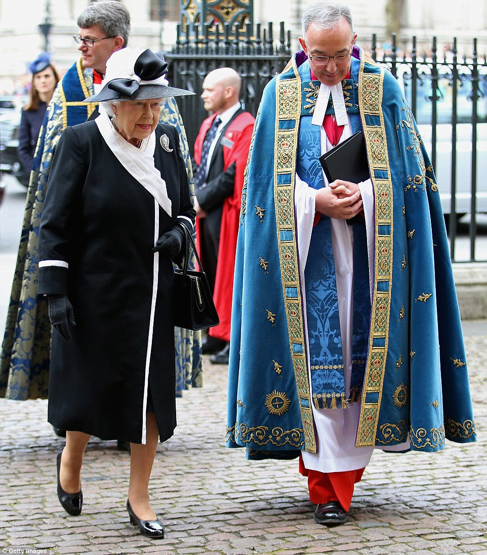 The Queen was seen walking into Westminster Abbey with Reverend Dr John Hall for a Service of Commemoration and Thanksgiving to mark the ANZAC Landings