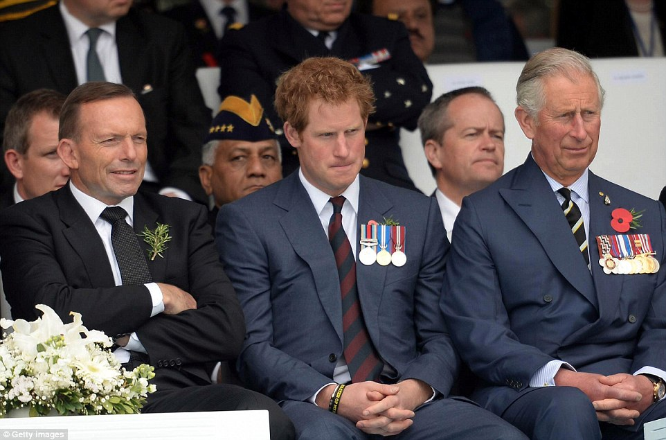 Australia's Prime Minister Tony Abbott, Prince Harry and Prince Charles, Prince of Wales attend a commemorative ceremony marking the centenary of the Gallipoli campaign at the Turkish 57th Regiment Memorial to mark the 100th anniversary of the Battle of Gallipoli