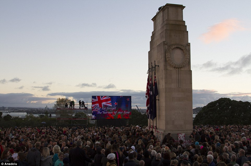 Tribute: Thousands gather at the War Memorial for the 100th anniversary of the Gallipoli landings in Auckland, New Zealand today