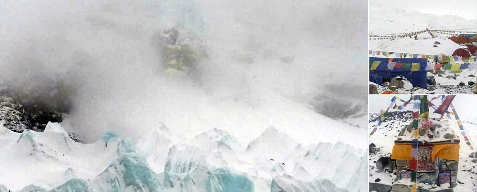Obliterated Everest basecamp where desperate British climber has appealed for help after