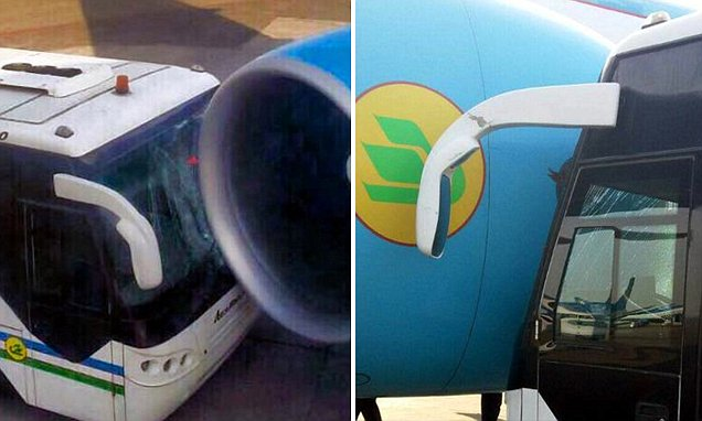 Photos show BUS smashed into a passenger plane on Tashkent Airport runway