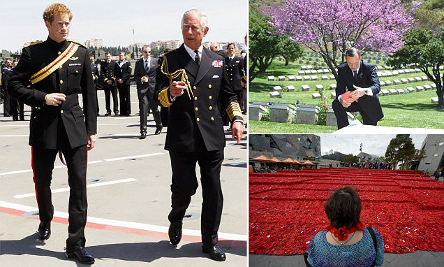 Prince Charles joins son Harry and world leaders to mark Gallipoli landings