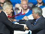 Jose Mourinho and Arsene Wenger clash and push each other on the touchline Premier League, Stamford Bridge, London. Chelsea v Arsenal (2-0)