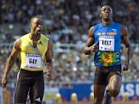 "Tyson Gay of the U.S. (L) wins the men's 100 metres final ahead of Jamaica's Usain Bolt at the IAAF Diamond League ""DN Galan"" at Stockholm Olympic Stadium August 6, 2010. Gay won ahead of second-placed Bolt.   REUTERS/Maja Suslin/Scanpix Sweden  (SWEDEN - Tags: SPORT ATHLETICS) NO COMMERCIAL USE. SWEDEN OUT. NO COMMERCIAL OR EDITORIAL SALES IN SWEDEN"